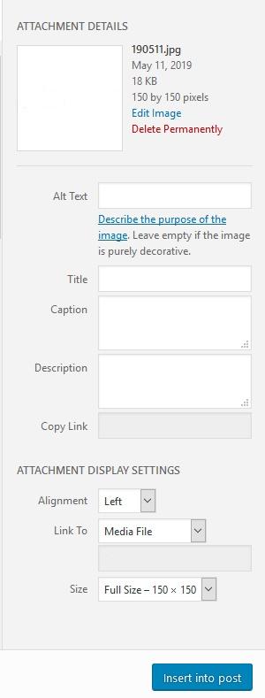 Current WordPress Insert Image options panel